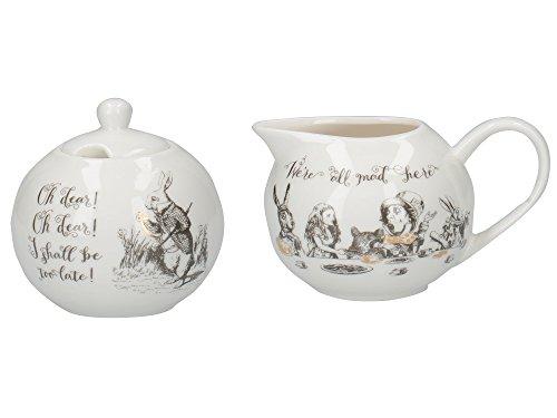 Creative Tops V & A Alice nel Paese delle Meraviglie bricco per Latte e zuccheriera, con Illustrazioni Decorativo, Porcellana, Bianco, 18x 7.5x 7cm
