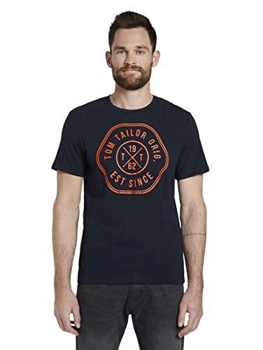 TOM TAILOR Herren T-Shirts/Tops T-Shirt mit Print Sky Captain Blue,XXXL