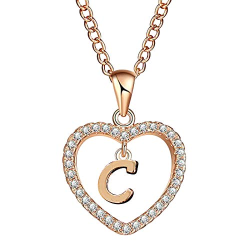 Heart Initial Necklace for Women, Rose Gold Dainty Heart Pendant Initial Letter Necklaces, CZ Engraved Alphabet Monogram Necklaces Jewelry Gift Idea for Teen Girls