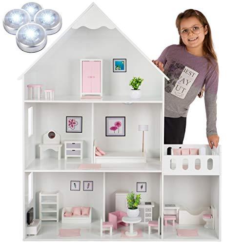 Kinderplay casa delle bambole in legno – versione con elementi rosa, 38 accessiori nel set, modello GS0023B