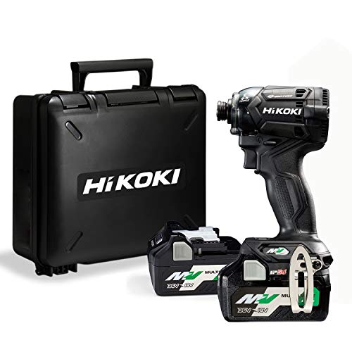 HiKOKI(ハイコーキ) 第2世代36Vインパクトドライバ ストロングブラック 小型軽量化 ビット振れ軽減 トリガーフィーリング向上 蓄電池2個・ケース付き 充電器別売り WH36DC(2XNB)