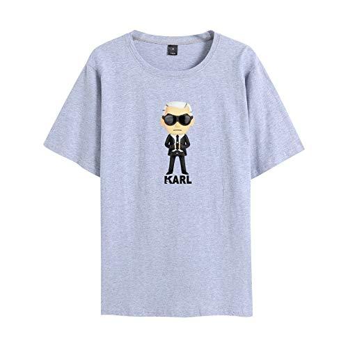 INSTO T-Shirt Karl Lagerfeld Karikatur Gedruckt T Unterhemd Sportbekleidung Fitness Tragen Unisex Optional Multi-Größe/grau / 2XL