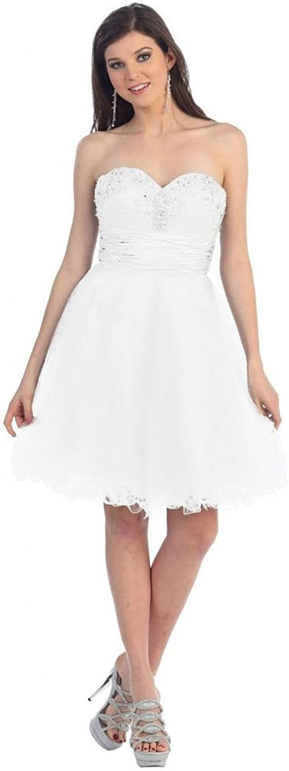Dearta Women's ALine Sweetheart Sleeveless KneeLength Tulle Cocktail Dresses