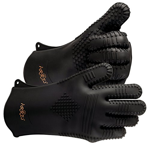 Arres XXL BBQ Grilling Gloves - Heat Resistant Silicone Extra Large Cooking Gloves - Best Accessories for Barbecue, Grill, Smoker, Kitchen Oven & more