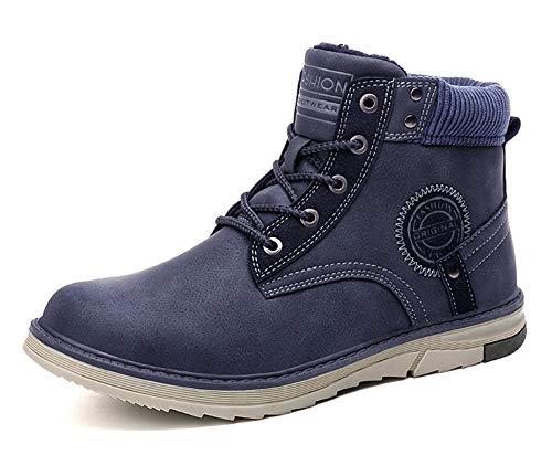 Gaatpot Uomo Neve Stivali Inverno Stivaletti da Escursionismo Scarpe da Trekking Caldo Cotone Scarpe Piatto Sportive Boots Blu 40 EU