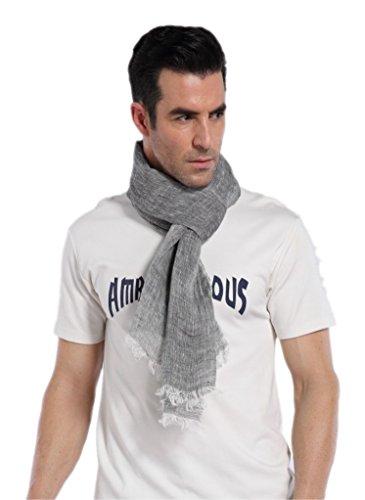 sciarpa uomo estiva prettystern Foulard Sciarpa Di Lino Unisex Uomo Donna Lungo Colore Screziato Primavera Estiva T06 Grey