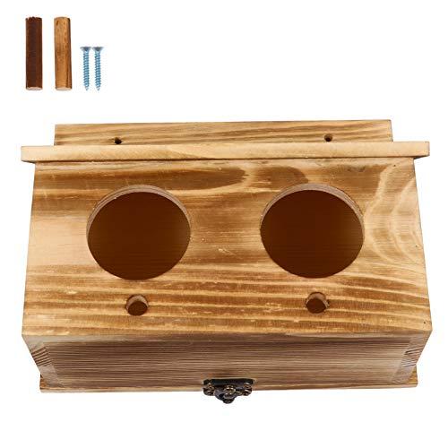 POPETPOP Caja de Nido de Periquito Casa de Pájaros Caja de Cría Jaula Caja de Cría de Madera de Dos Agujeros para Agapornis Loros Cacatúa Periquito Conure Loro