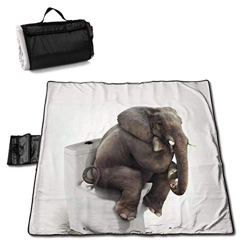 Suo Long Picknickdecke Lustiger indischer Elefant sitzt auf Toilette Picknickmatte Stranddecke