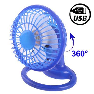 LUPO Mini USB Desk ventola in plastica con 360 gradi di rotazione - blu