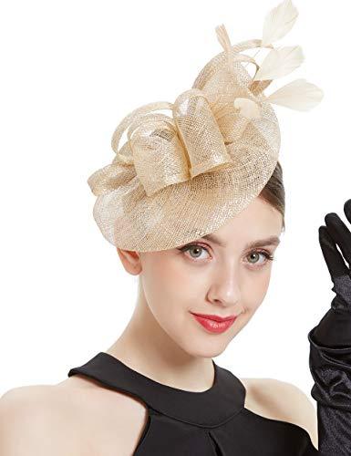 Coucoland Fascinators Hut Damen Elegant Gerollt Still Feder Fascinator Haarreif für Hochzeit Cocktail Tee Party Derby Haar Kopf Accessoires Damen Karneval Fasching Kostüm Zubehör (Gold)