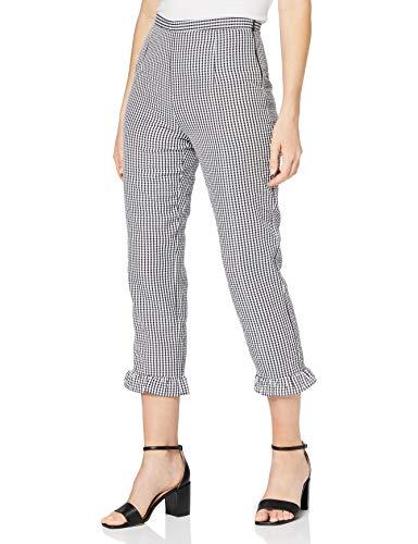 FIND Pantalones de Cuadros Vichy para Mujer , Negro (Black/white Check), 38 (Talla del Fabricante: Small)