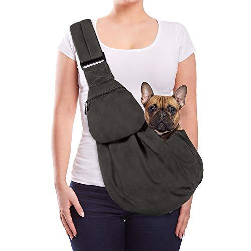 Lukovee Hundetragetasch, Tragetuch Hund Haustiere Single-Schulter Schleuderträger Verstellbare Gepolsterte Schultergurt mit Fronttasche hundetragebeutel Outdoor für gehende(Grau)