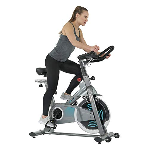 EFITMENT Electric Force Indoor Cycling Bike, Magnetic Resistance Belt Drive Exercise Stationary Cycle w/ Digital Monitor, Pulse Grips, Ipad/Tablet Holder, Chromed Flywheel - IC038 belt Bikes Exercise flywheel indoor magnetic quiet