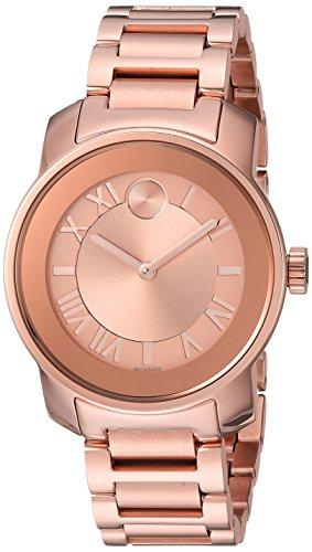 Movado Women s Swiss Quartz ROSEGOLD Plated Casual Watch Model 3600441