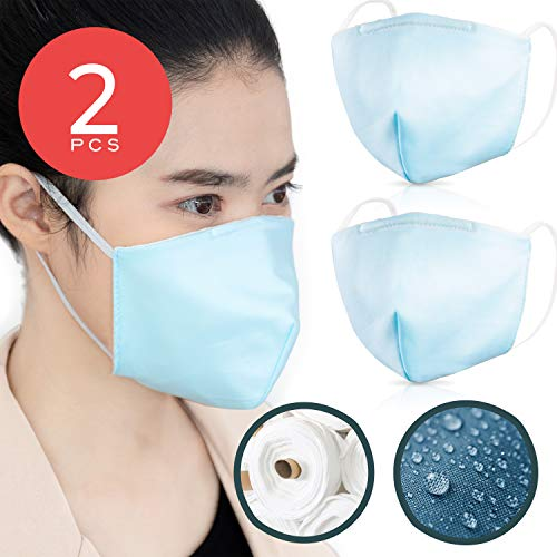 Double Layer Cotton Mouth Cover – Pack of 2 for Adults SIZE S – Waterproof & Coated with Swiss SG Tech on USA Satin Cotton with Nose Bridge, Washable & Reusable 40x made for both Men & Women