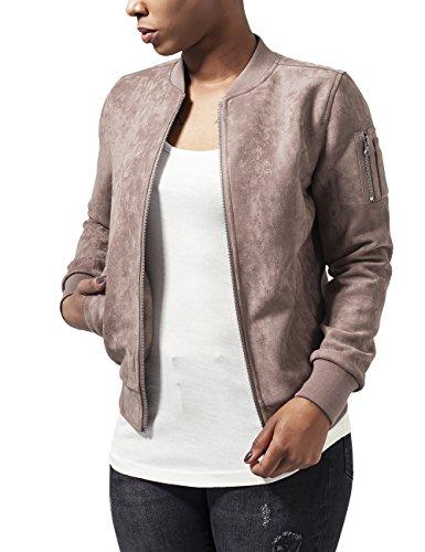Urban Classics Damen Ladies Imitation Suede Bomber Jacket Jacke, - Braun (taupe 782) - M