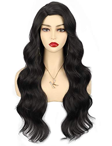 Sotica 28' Black Long Wavy Wigs for Women Right Side Parting Natural Looking Body Wave Hair Heat Resistant Synthetic Fiber Replacement Wigs