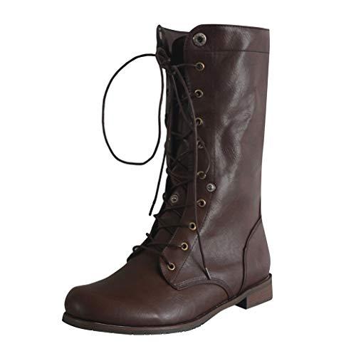 Fenverk Herren Schuhe/Damen Stiefeletten Worker Boots Mit Blockabsatz Metallic Profilsohle Flandell/Schuhe Herren Winter/Gothic/Winter Boots Herren Ge/Damen Boots(Braun Herren,45 EU)