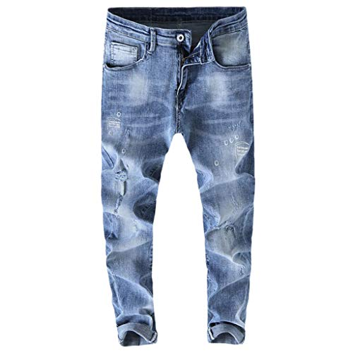 Qiuday Herren Loose Fit Jeans Slim Jacket Denim Pants Hose | Lange Jeanshose für Männer Coole Jungen Stretch Freizeithose Cargo Chino Winter Basic for Man Straight Biker Freizeit-Hose