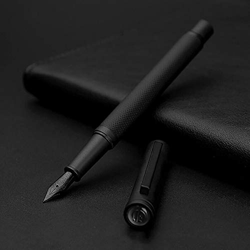 Matte Black Forest Fountain Pen Extra Fine Nib Classic Design with Converter and Metal Gift Box Set by Hongdian