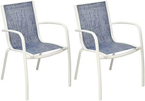 Proloisirs Fauteuil Linea en Aluminium et textilène Jean's (Lot de 2)