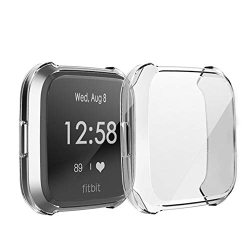 Compatible with Fitbit Versa Lite Screen Protective Case,FOLOME Scratch-Resistant Soft Flexible TPU Plated All-Around Protective case Protector Fit Fitbit Versa Lite Smart Fitness Watch (Clear)