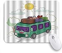 NIESIKKLAマウスパッド 田舎で荷物を運ぶバスでのヒッピーヴァンの野外活動 ゲーミング オフィス最適 高級感 おしゃれ 防水 耐久性が良い 滑り止めゴム底 ゲーミングなど適用 用ノートブックコンピュータマウスマット