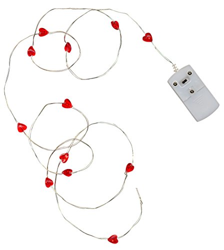 LED-Highlights Deko Lichterkette 12 Herzen rot Batterie 12 Mikro LED weiß 1,15 m Micro Beleuchtung tarnsparent Stimmungslicht Innen Außen