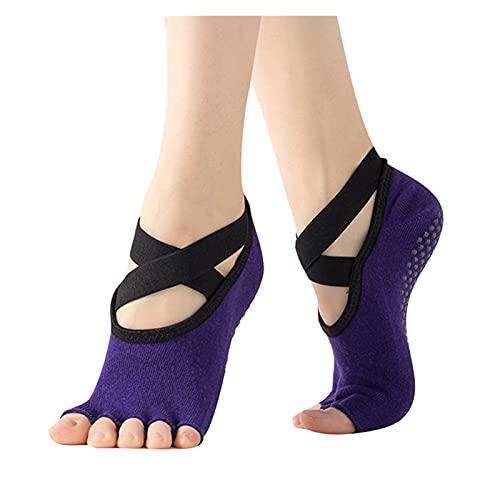 YQwind Mujeres Yoga sin Respaldo Cinco Dedo delito Antideslizante Tobillo Pilates Fitness Gym Damas Sports Socks Professional Vendaje Ballet Baile Sock Calcetines de Yoga (Color : Purple)