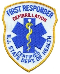 New Jersey State Department of Health First Responder Defibrillation Certified - Shoulder Patch, Royal on White/Red, Size: 4x5' New Jersey DOH NJ Star of Life Patch EMT EMS - Sold by Uniform World
