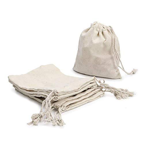 Ruby - Lot de 48 sacs en coton avec cordon réglable, sac cadeau, sacs en tissu pour travaux manuels, sac en tissu pour matériel de peinture, sac d'anniversaire Talla M