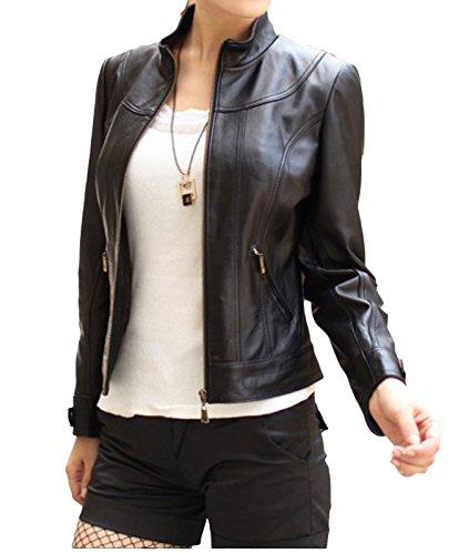 Trendtales Chaqueta de piel para mujer, piel de cordero, Negro SL885 XXL