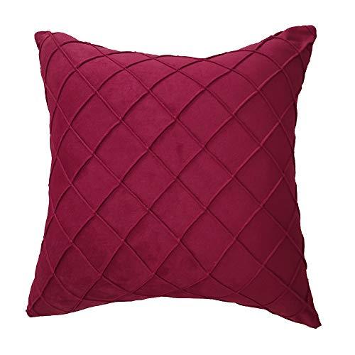 Garretlin - Federa per cuscino quadrata, in morbido peluche, per soggiorno, divano, camera da letto, ufficio, sedia, auto, Peluche, Rosso vinaccia, taglia unica