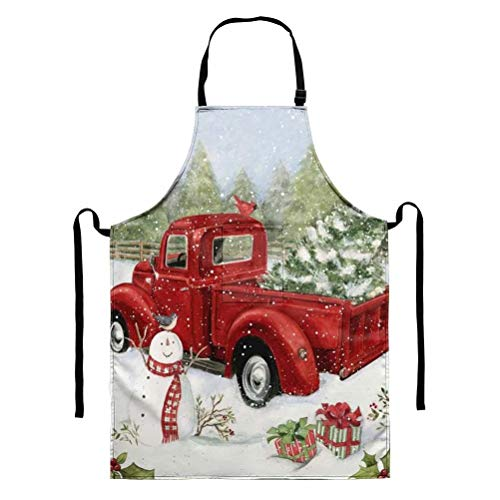 GOSTONG Christams Red Truck Aprons Women Home Kitchen Apron Unisex Apron Men Dining Cooking Aprons Pocket Clearance Gardening Apron Adult BBQ Aprons Dress Cleaning Gifts Cash Apron