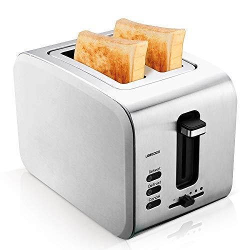 UBEGOOD Toaster, Edelstahl Toaster mit Abnehmbare Krümelschublad 2 Scheiben Toaster 900W Doppelschlitz Toastautomat, 6 Einstellbare Bräunungsstufe, Auftau, Aufwärmfunktion und Abbrechen Funktionen