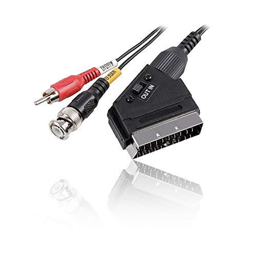 CDL Micro 1,5m SCART Mannelijk In/Uit naar BNC & RCA/Phono Mannelijke Audio Video Kabel - ZWART