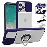 LS LANGSHUN Funda para iPhone 12 Pro MAX, [Protección de la cámara] [con Soporte de 360° Anillo & Soporte magnético para teléfono para automóvil & Placa de Metal 2PCS] Translúcidos Mate Bordes Suaves