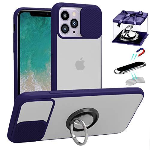 LS LANGSHUN Funda para iPhone 11 Pro MAX, [Protección de la cámara] [con Soporte de 360° Anillo & Soporte magnético para teléfono para automóvil & Placa de Metal 2PCS] Translúcidos Mate Bordes Suaves
