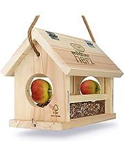 cuore di animali selvatici   Mangiatoia per Uccelli, Realizzato in Legno Naturale, Non trattato - Casetta per Gli Uccelli da Appendere in Giardino o sul Balcone