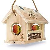 corazón animal salvaje | Comedero para pájaros con forma de corazón salvaje, hecho a mano en madera natural para pájaros de jardín, resistente a la intemperie, natural