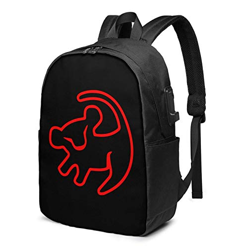 XCNGG Red Baby Simba Drawing Business Laptop School Bookbag Mochila de Viaje con Puerto de Carga USB y Puerto para Auriculares de 17 Pulgadas