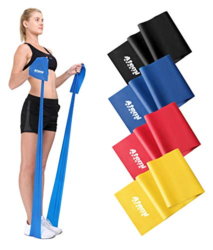 Motståndsband   1,2m eller 2m   Välj 1 av 4 motståndsnivåer   Gratis övningsguide-PDF   Träningsband som är idealt för fysioterapi, styrke- och konditionsträning (banden säljs styckvis) (#4 Svart (7,25 kg), 1,2m)