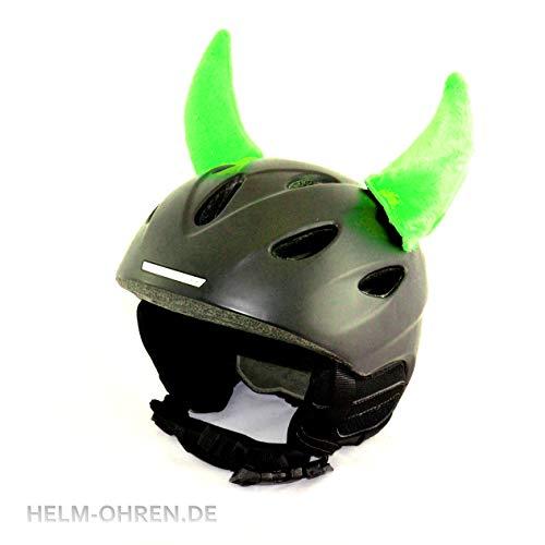 Helm-Ohren Hörner für den Skihelm, Snowboardhelm, Kinder-Helm, Kinder-Skihelm oder Motorradhelm - verwandelt den Helm in EIN EINZELSTÜCK - für Kinder und Erwachsene HELMDEKO (Neon-Grün)