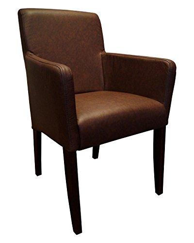 Quattro Meble Braun Echtleder Stühle David Arm Lederstühle mit Armlehnen Echt Leder Mondial Dark Brown Esszimmer Stuhl Rindsleder Sessel