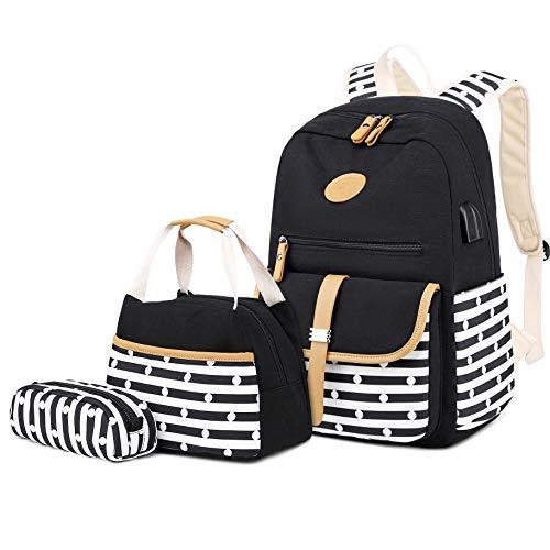 School Backpack for Girls, Gazigo Womens High School College Bookbags Laptop Bag (Black Lunch Bag)