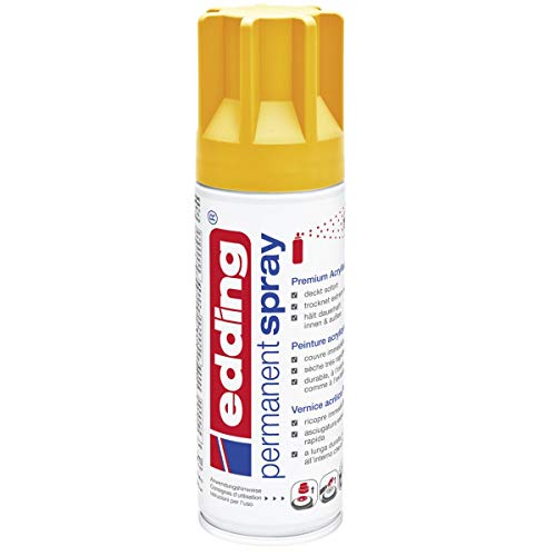 edding 5200 Permanent-Spray - sonnen-gelb matt - 200 ml - Acryllack zum Lackieren und Dekorieren von Glas, Metall, Holz, Keramik, lackierb. Kunststoff, Leinwand, u. v. m. - Sprühfarbe