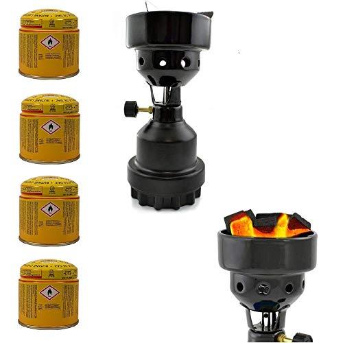 3-in-1 Camping Gaskocher mit Kartusche, Kohleanzünder, Anzünder für Shisha, Campingkocher mit 4X Gaskartuschen, stabiles Metallgehäuse, Schwarz