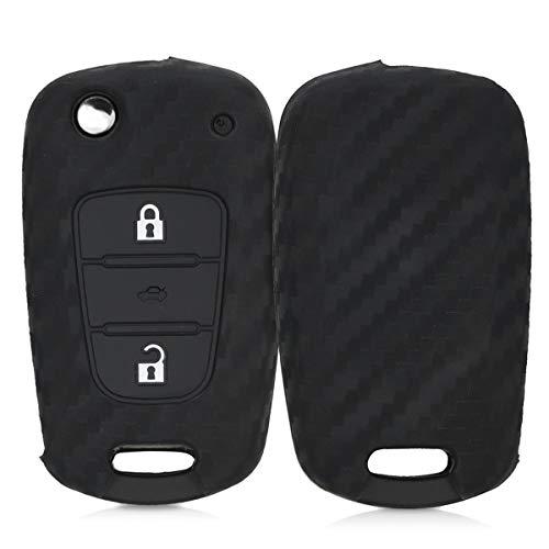kwmobile Funda Compatible con Hyundai Llave de Coche Plegable de 3 Botones - Carcasa Protectora Suave de Silicona - Carbono