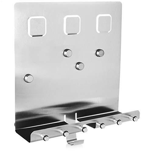 com-four® Edelstahl Schlüsselleiste mit Ablage und Magnetwand - Memo Tafel im modernen Design - Schlüsselboard mit 7 Haken (Variante 2)