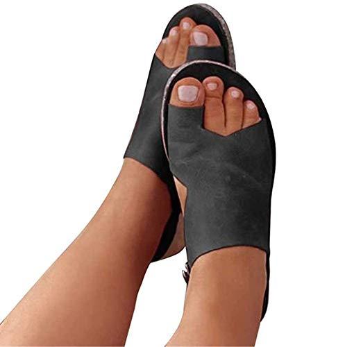 SXMY Sandalen/Sandaletten Damen Bequeme und Atmungsaktive Korrektursandalen Einfarbige Flip-Flop-Sandalen für Damen Kann die Haltung verbessern und Rückenschmerzen lindern,001,38EU